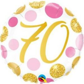 18 INCH PINK & GOLD DOTS AGE 70