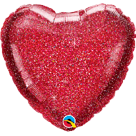 18 INCH GLITTER GRAPHIC RED HEART