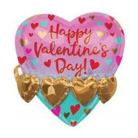 21 INCH GOLD HEART GARLAND MULTI BALLOON 026635404594