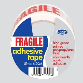 FRAGILE ADHESIVE TAPE PK OF 6