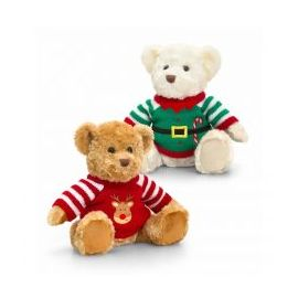 25CM  BAXTER BEAR WITH KNITTED XMAS JUMPER 2 COLOURS