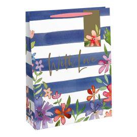 WITH LOVE NAVY STRIPE FLORAL LARGE BAG 6 PCS 5033601519010