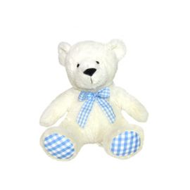 WHITE TEDDY WITH BLUE SCARF 10 INCH