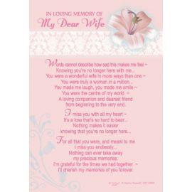 LOVING MEMORY DEAR WIFE KEEPSAKE MEDIUM X6