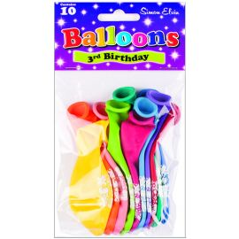 AGE 3 LATEX BALLOONS ASSORTED PK10