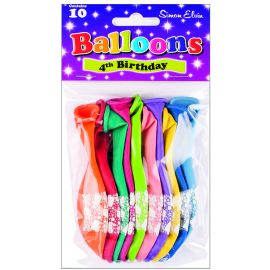 AGE 4 LATEX BALLOONS ASSORTED PK10