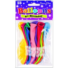 AGE 8 LATEX BALLOONS ASSORTED PK10