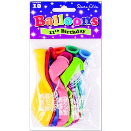AGE 11 LATEX BALLOONS ASSORTED PK10