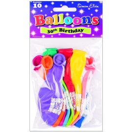 AGE 30 LATEX BALLOONS ASSORTED PK10