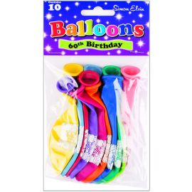 AGE 60 LATEX BALLOONS ASSORTED PK10