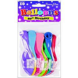 AGE 80 LATEX BALLOONS ASSORTED PK10