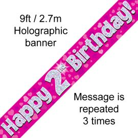 9FT BANNER PINK HOLO HAPPY 2ND BIRTHDAY