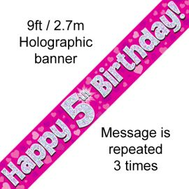 9FT BANNER PINK HOLO HAPPY 5TH BIRTHDAY
