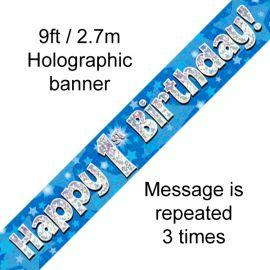 9FT BANNER BLUE HOLO HAPPY 1ST BIRTHDAY