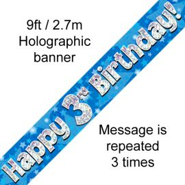 9FT BANNER BLUE HOLO HAPPY 3RD BIRTHDAY