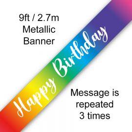 9FT BANNER RAINBOW SCRIPT BIRTHDAY