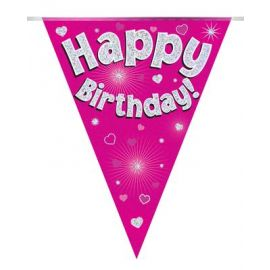 PARTY BUNTING PINK HOLO HAPPY BIRTHDAY 3.9M
