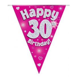 PARTY BUNTING PINK HOLO HAPPY 30TH 3.9M