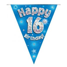 PARTY BUNTING BLUE HOLO HAPPY 16TH 3.9M