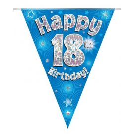 PARTY BUNTING BLUE HOLO HAPPY 18TH 3.9M