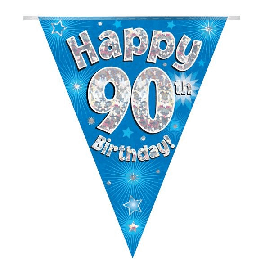 PARTY BUNTING BLUE HOLO HAPPY 90TH 3.9M