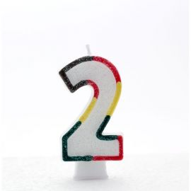 AGE 2 CANDLES MULTI COLOURED PK OF 6