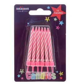 PINK CANDLES 12 PIECES PACK OF 6