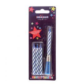 4 MUSICAL CANDLES BLUE STRIPE PACK 6