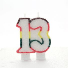 AGE 13 CANDLES MULTI COLOURED PK OF 6
