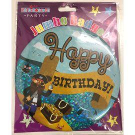 JUMBO BADGE HAPPY BIRTHDAY WITH PIRATES