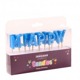 BLUE HAPPY BIRTHDAY CANDLES X 4