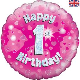18 INCH HAPPY 1ST BIRTHDAY PINK HOLOGRAPHIC
