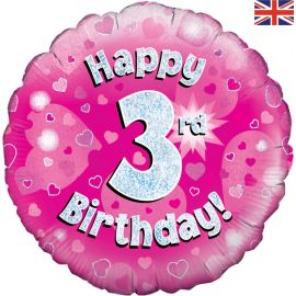18 INCH HAPPY 3RD BIRTHDAY PINK HOLOGRAPHIC