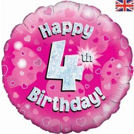 18 INCH HAPPY 4TH BIRTHDAY PINK HOLOGRAPHIC