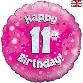 18 INCH HAPPY 11TH BIRTHDAY PINK HOLOGRAPHIC