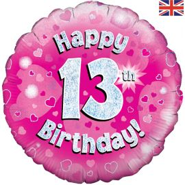 18 INCH HAPPY 13TH BIRTHDAY PINK HOLOGRAPHIC