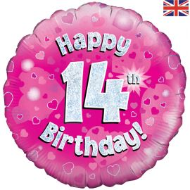 18 INCH HAPPY 14TH BIRTHDAY PINK HOLOGRAPHIC