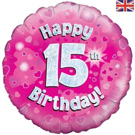 18 INCH HAPPY 15TH BIRTHDAY PINK HOLOGRAPHIC