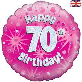 18 INCH HAPPY 70TH BIRTHDAY PINK HOLOGRAPHIC