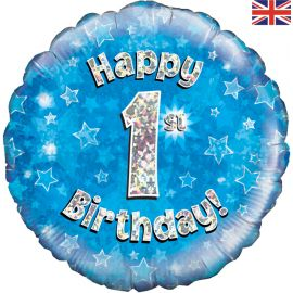 18 INCH HAPPY 1ST BIRTHDAY BLUE HOLOGRAPHIC