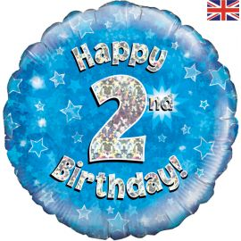 18 INCH HAPPY 2ND BIRTHDAY BLUE HOLOGRAPHIC