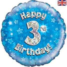 18 INCH HAPPY 3RD BIRTHDAY BLUE HOLOGRAPHIC
