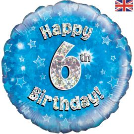18 INCH HAPPY 6TH BIRTHDAY BLUE HOLOGRAPHIC