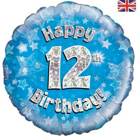 18 INCH HAPPY 12TH BIRTHDAY BLUE HOLOGRAPHIC
