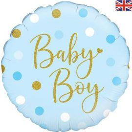 18 INCH SPARKING BABY BOY DOTS HOLOGRAPHIC 228113 5060161228113
