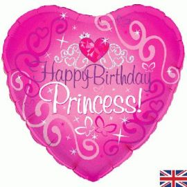 18 INCH HAPPY BIRTHDAY PRINCESS PINK HEART HOLO