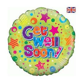 18 INCH GET WELL DOTS & STARS HOLOGRAPHIC