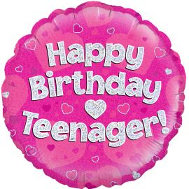 18 INCH HAPPY BIRTHDAY TEENAGER PINK HOLOGRAPHIC