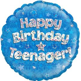 18 INCH HAPPY BIRTHDAY TEENAGER BLUE HOLOGRAPHIC