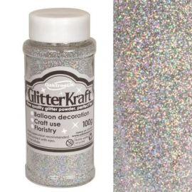 Kraft Fine Glitter 100g Holographic Silver